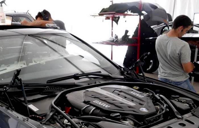 Dent repair on a BMW 330xi